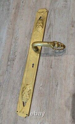 Serrure poignee art nouveau ancienne Bronze Jules Cayette