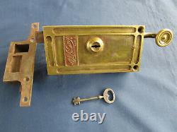 Serrure tirage CH. Dény Paris 1 clef double panetons gâche laiton fer ancienne G
