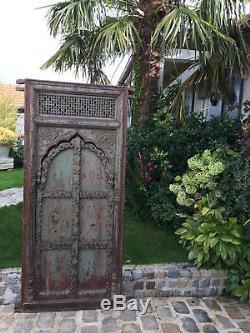 Superbe Porte Orientale Ancienne En Bois À Décor De Moucharabieh Époque Xixeme
