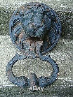 Tres Ancien Et Monumental Heurtoir De Porte Tete De Lion Pour Immense Et Enorme