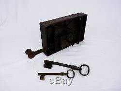 Très ancienne serrure de porte à double fermeture, deux clés, en état de marche