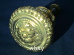 Très grosse poignée fixe ronde laiton décoré porte d'entrée ancienne Dia. 11 cm
