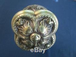 Très grosse poignée fixe rosace ronde bronze porte entrée ancienne dia. 11,8 cm