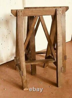 Tréteaux minimaliste de chantier en sapin massif. XX siècle