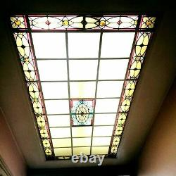 Verrière en vitraux Art Déco Ossature en cornière de fer Epoque 1900 XX siècle