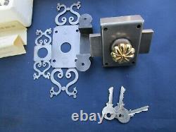 Verrou de sécurité complet 3 clefs gâche vis fer bouton laiton porte entrée