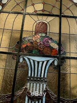 Vitrail en alcôve Art Déco dans son châssis XX siècle