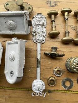 (n°3) Gros Lot serrure Laiton Targette Poignées Anciens XIXe Porte Château